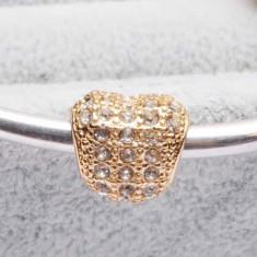 Charm inima cristale swarovski albe placat cu aur 14k pt bratara/ lant PANDORA - Pandantiv Swarovski