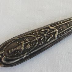Coupe papier argint Cutit Corespondenta executat manual Patina minunata