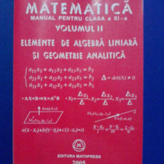 Matematica.Manual pentru clasa a XI-a(vol.II) / Mircea Ganga / R2P1F - Manual scolar mast, Clasa 11, Mathpress