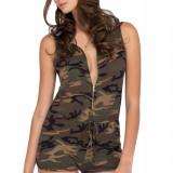 R486-120 Salopeta sexy, cu print camuflaj Covert Operation