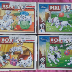 Set 4 Mini Puzzle Altele Trefl 54 piese - 101 Dalmatieni - Disney, 4-6 ani, Carton, 2D (plan), Unisex