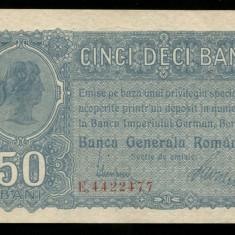 X481 50 BANI 1917 BGR NECIRCULATA UNC - Bancnota romaneasca