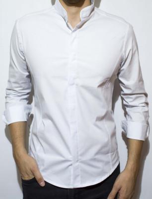 Camasa - camasa alba camasa slim fit camasa tunica camasa barbat cod 58 foto
