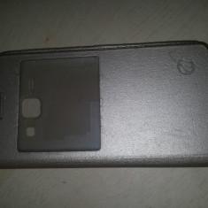 Husa Samsung Galaxy J1 J100 Capac Spate Carte Flip GOld Auriu - Husa Telefon, Piele Ecologica, Carcasa
