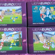 Set 4 Mini Puzzle Altele Trefl 54 piese - UEFA Euro 2012, 4-6 ani, Carton, 2D (plan), Unisex