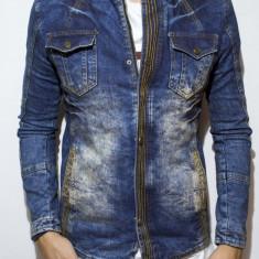 Geaca de blugi tip Zara Man - jacheta blugi cu captuseala geaca slim fit cod 55 - Geaca barbati, Marime: M, L, Culoare: Din imagine