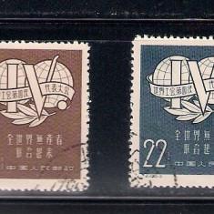 CHINA 1957 - MICHEL 345 -346 SERIE COMPLETA STAMPILATA - Timbre straine