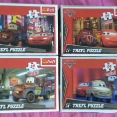 Set 4 Mini Puzzle Altele Trefl 54 piese - Disney-Pixar Cars, 4-6 ani, Carton, 2D (plan), Unisex