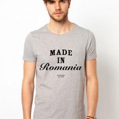Tricou barbati gri - Made In Romania, Marime: S, M, L, XL, Maneca scurta