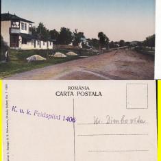 Pucioasa (Dambovita) - Strada Podului- rara. cenzura militara - Carte Postala Muntenia 1904-1918, Necirculata, Printata