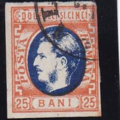 ROMANIA 1869, CAROL I CU FAVORITI, VAL 25 BANI PORTOCALIU/ALBASTRU, STAMP. - Timbre Romania, Stampilat