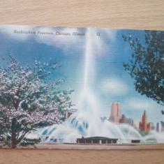 Carte postala necirculata anii'50 _ SUA_Chicago _ fantana arteziana Buckingham - Carte postala tematica, Fotografie