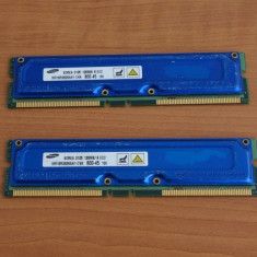 Kit 256MB Memorie RIMM Rambus PC 800 ( 2 x 128MB) - Memorie RAM Samsung, Altul, 800 mhz, Dual channel