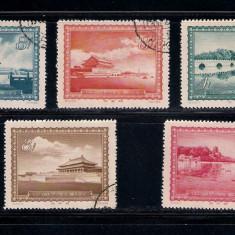 CHINA 1956 - MICHEL 314 -318 SERIE COMPLETA STAMPILATA - Timbre straine