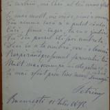 Poezie scrisa olograf si semnata de D. Petrino , colegul lui Eminescu , 1875