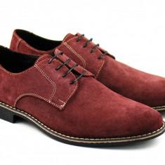 Pantofi barbati casual - eleganti din piele naturala intoarsa VIS - RANY - Pantof barbat, Marime: 37, 38, 39, 40, 41, 42, 43, 44, 45, Culoare: Visiniu