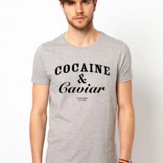 Tricou barbati gri Cocaine & Caviar, Marime: S, M, L, XL, Maneca scurta
