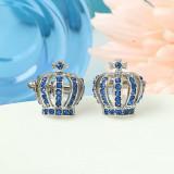 Butoni argintii model COROANA cu strasuri albastre + ambalaj cadou