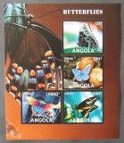 ANGOLA 2016 - FLUTURI, 1 M/SH NEDANTELATA, NEOBLITERATA - PP 1254