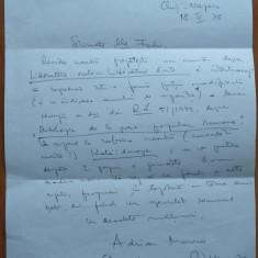 Scrisoare olografa a scriitorului Adrian Marino , datata si semnata ,Cluj , 1978