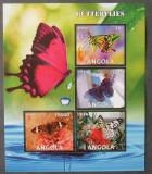 ANGOLA 2016 - FLUTURI, 1 M/SH NEDANTELATA, NEOBLITERATA - PP 1253