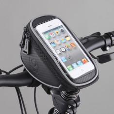 Buzunar bicicleta cu husa transparenta pentru telefon mobil - Suport telefon bicicleta