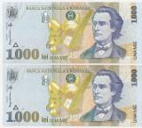 ROMANIA 1000 LEI 1998 UNC SERIE CONSEUTIVA - PRET PER LOT