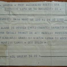 Telegrama alui Geo Bogza catre Alexandru Rosetti