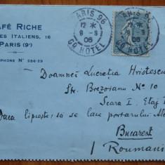 CP inchisa, expediata de Radu Rosetti de la Paris in 1906 catre iubita lui - Autograf