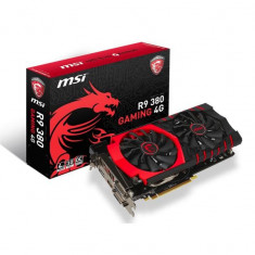 Placa video MSI AMD R9 380 GAMING 4G, R9 380, PCI-E, 4096MB GDDR5, 256 bit, Base / Boost clock# 970 / 1000 MHz, 5700 MHz, 2xDVI, HDMI, DP, FAN bulk