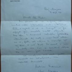 Scrisoare olografa a scriitorului Adrian Marino , datata si semnata ,Cluj , 1977