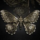 Clamă de păr gotică steampunk Mechanical Moth - Pandantiv fashion