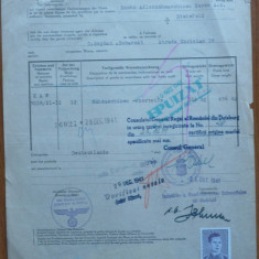 """Certificat de origine marfa ; Consulatul Regal al Romaniei, Duisburg, 194""""1 - Diploma/Certificat"""