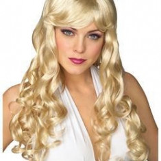 Peruca Lunga Par Artificial Sintetic Blond Lung Cosplay Adult 50cm Breton