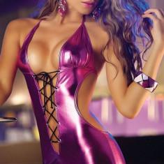 Lenjerie Lady Lust Sexy Rochie V Babydoll Teddy Club Silver Piele Eco + Chiloti - Rochie de club, Culoare: Mov, Negru, Rose, Rosu, Marime: M