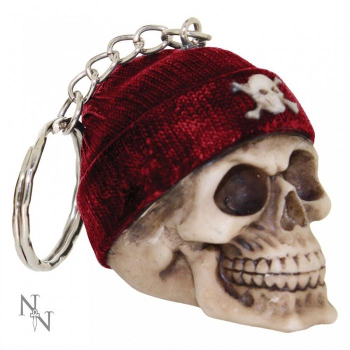 Breloc Craniu cu căciuliță roșie foto mare
