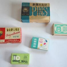 Lot cutii, chibrituri, reclama, ace cu gamalie, agrafe, piuneze, anii '80
