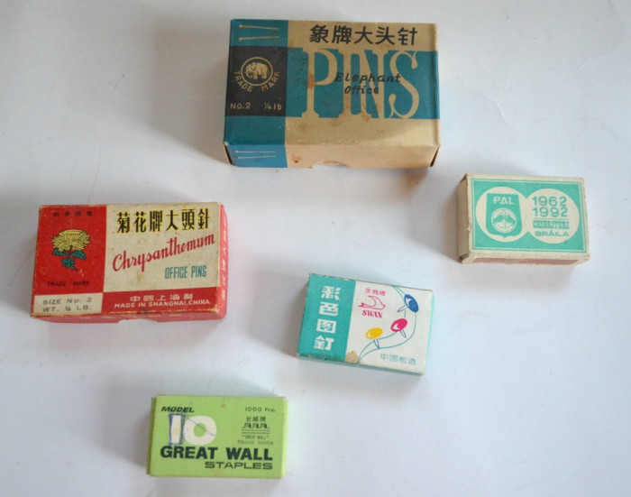 Lot cutii , chibrituri, reclama, ace cu gamalie, agrafe, piuneze,  anii '80