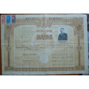 Diploma de bacalaureat ; Liceul Dragos Voda , Campulung Moldovenesc , 1930