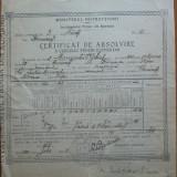 Certificat de absolvire  elev evreu , semnat de Miron Radu Paraschivescu , 1923