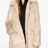 Palton lung din blana sintetica - VILA - 14028942 bej