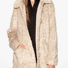 Palton lung din blana sintetica - VILA - 14028942 bej - Palton dama Vila, Marime: 38, 36
