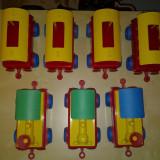 Cuburi mari Set 7 piese tren (XXL)