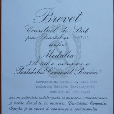 2 Brevete comuniste acordate lui Gavril Marcuson, redactor la Ed. Enciclopedica