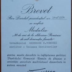Brevet, Medalia 30 ani de la elib. Romaniei, acordat scriitorului Gh. Tomozei