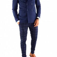 Sacou tip Zara Man albastru - sacou barbati - sacou casual office - 6844, Marime: 48, 50, 52, Culoare: Din imagine