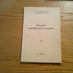 PRINCIPIUL AUTORITATII SACRE A TRATATELOR - Vasile P. Emanoil (autograf) - 1941 - Carte Teoria dreptului