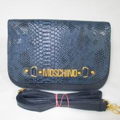 Geanta dama bleumarin tip postas Moschino+CADOU, Culoare: Din imagine, Marime: Medie, Geanta stil postas, Asemanator piele