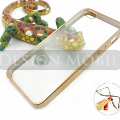 HUSA APPLE IPHONE 5 5S SILICON TRANSPARENTA GOLD PREMIUM - Husa Telefon, iPhone 5/5S/SE, Auriu