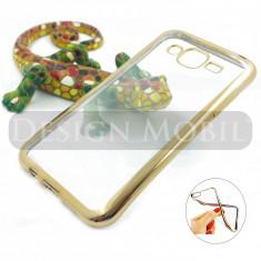 HUSA SAMSUNG GALAXY J5 (2015) SILICON TRANSPARENTA GOLD PREMIUM - Husa Telefon, Auriu